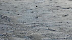 Aerial top view of a man with a backpack walking by the tundra.
