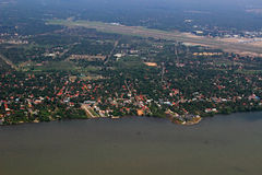 Aerial Top View MOdern Colombo Airport & Coastal Area of Sri Lanka. Aerial view of Colombo Airport Runway & Negombo Beach area SRi Lanka- depicting the booming stock photos