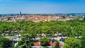Aerial top view of Montpellier city skyline from above, Southern France stock photo