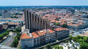 Aerial top view of Montpellier city skyline from above, France. Aerial top view of Montpellier city skyline from above, Southern France stock images