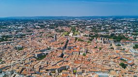 Aerial top view of Montpellier city skyline from above, Southern France Royalty Free Stock Photography