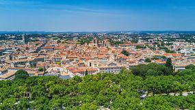 Aerial top view of Montpellier city skyline from above, Southern France Stock Photos
