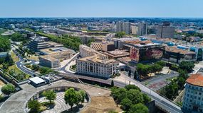 Aerial top view of Montpellier city skyline from above, Southern France Stock Image