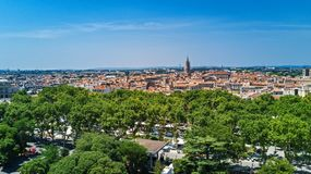 Aerial top view of Montpellier city skyline from above, Southern France stock images