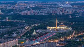Aerial top view of Moscow city day to night timelapse after sunset. Form from the observation platform of the business stock footage