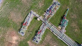 Aerial top view natural gas pipeline, gas industry, gas transport system, stop valves and appliances for gas pumping station.  stock image