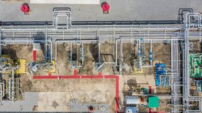 Aerial top view natural gas pipeline, gas industry, gas transport system, stop valves and appliances for gas pumping station.  stock photography