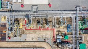 Aerial top view natural gas pipeline, gas industry, gas transport system, stop valves and appliances for gas pumping station.  stock images