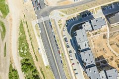 Aerial top view of new residential housing complex stock photos