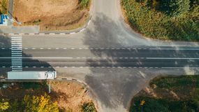 Aerial top view of the new road, road marking. Car royalty free stock photo