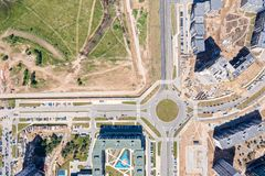 Aerial top view of new urban residential area under construction royalty free stock images