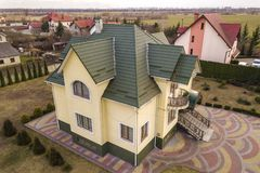 Free Aerial Top View Of New Residential House Cottage With Shingle Roof On Fenced Big Yard On Sunny Day Stock Images - 145854944