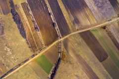 Aerial Top View Of Plowed Arable Field Stock Photography