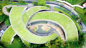 Free Aerial Top View On School Of Art At Nanyang Technological University In Singapore Stock Photo - 178365940