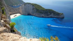 Aerial top view panorama of Shipwreck Navagio beach of Zakynthos stock video