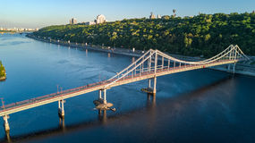 Aerial top view of pedestrian Park bridge and Dnieper river from above, city of Kiev Stock Photography