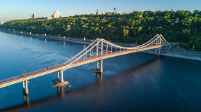 Aerial top view of pedestrian Park bridge and Dnieper river from above, city of Kiev Stock Image