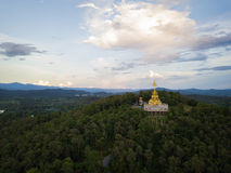 Aerial top view photo from flying drone of the Buddhist temple and fields in  the countryside Stock Photo