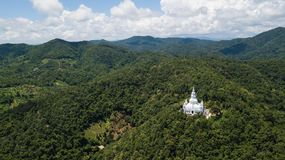 Aerial top view photo from flying drone of the Buddhist temple and fields in  the countryside Stock Photography