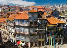 Aerial top view of Porto Oporto city orange roofs, Portugal stock image