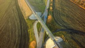 Aerial Top View repair highway intersection junction summer morn. Ing with car royalty free stock images