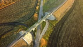 Aerial Top View repair highway intersection junction summer morn. Ing with car stock photos