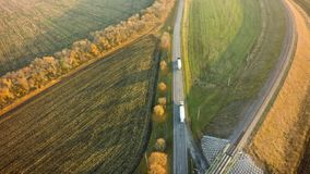 Aerial Top View repair highway intersection junction summer morn. Ing with car stock photography