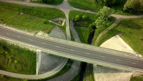 Aerial Top View of on Road.  royalty free stock image