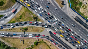 Aerial top view of road junction from above, automobile traffic and jam of cars, transportation concept Stock Image