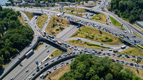 Aerial top view of road junction from above, automobile traffic and jam of cars, transportation concept. Aerial top view of road junction from above, automobile Stock Image
