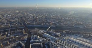 Aerial top view of road junction in Moscow from above, automobile traffic and jam of many cars, transportation concept. Kutuzov Avenue stock video