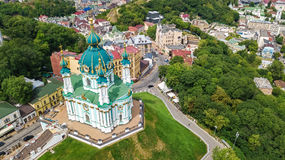 Aerial top view of Saint Andrew`s church and Andreevska street from above, cityscape of Kiev Kyiv, Ukrai Stock Image