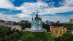 Aerial top view of Saint Andrew`s church and Andreevska street from above, cityscape of Kiev Kyiv, Ukrai Stock Photography