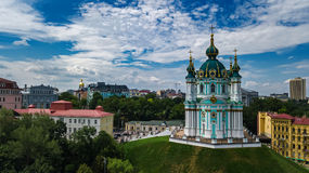 Aerial top view of Saint Andrew`s church and Andreevska street from above, Podol, city of Kiev Kyiv, Ukraine Stock Photography
