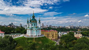 Aerial top view of Saint Andrew`s church and Andreevska street from above, Podol, city of Kiev Kyiv, Ukraine Royalty Free Stock Photos
