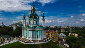Aerial top view of Saint Andrew`s church and Andreevska street from above, Podol, city of Kiev Kyiv, Ukraine Royalty Free Stock Photography
