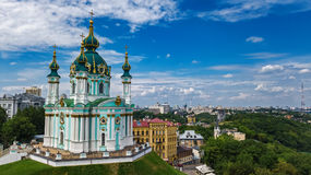 Aerial top view of Saint Andrew`s church and Andreevska street from above, Podol, city of Kiev Kyiv, Ukraine Stock Photos