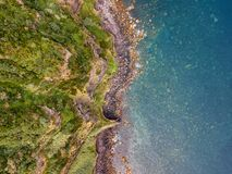 Aerial top view seascape. Natural drone landscape view in the Azores islands. Abstract pattern with amazing textures. Atlantic coa