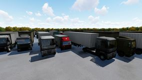 Aerial top view of semi truck with cargo trailer parking with other trucks on special parking lot.