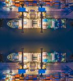 Aerial top view of ship containers at shipping port for international import or export logistics or transportation business. Concept background royalty free stock photo