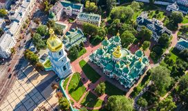 Aerial top view of St Sophia cathedral and Kiev city skyline from above, Kyiv cityscape, Ukraine. Aerial top view of St Sophia cathedral and Kiev city skyline stock image
