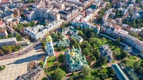 Aerial top view of St Sophia cathedral and Kiev city skyline from above, Kyiv cityscape, Ukraine. Aerial top view of St Sophia cathedral and Kiev city skyline stock photo