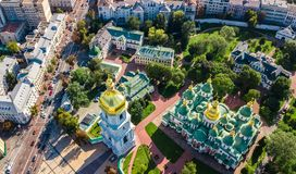Aerial top view of St Sophia cathedral and Kiev city skyline from above, Kyiv cityscape, Ukraine. Aerial top view of St Sophia cathedral and Kiev city skyline royalty free stock photo