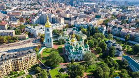 Aerial top view of St Sophia cathedral and Kiev city skyline from above, Kyiv cityscape, Ukraine Royalty Free Stock Photography