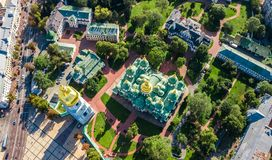 Aerial top view of St Sophia cathedral and Kiev city skyline from above, Kyiv cityscape, Ukraine. Aerial top view of St Sophia cathedral and Kiev city skyline stock photos
