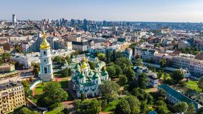 Aerial top view of St Sophia cathedral and Kiev city skyline from above, Kyiv cityscape, Ukraine. Aerial top view of St Sophia cathedral and Kiev city skyline stock images
