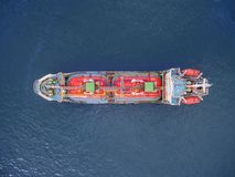 Aerial top view tanker ship park in sea . stock photos