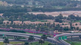 Aerial top view to Sheikh Zayed road near Dubai Marina and JLT timelapse, Dubai. Aerial top view to intersection near Sheikh Zayed road near Dubai Marina and stock video