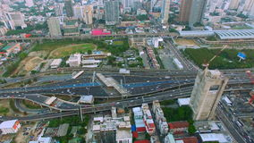 Aerial top view of traffic and vehicle car on tollway or express way in bangkok city area, transportation concept, 90 degree camer. A view shot , High quality stock video