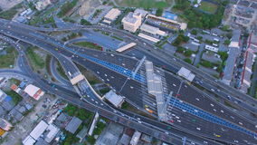 Aerial top view of traffic and vehicle car on tollway or express way in bangkok city area, transportation concept, 90 degree camer. A view shot , High quality stock video footage